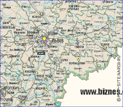 Карта Львывськоъ Областы
